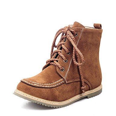 Les bottes pour le confort d'hiver robe en simili cuir Talon plat décontracté marron à lacets Blac jauneK Brown