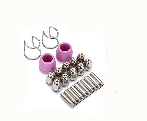 HQ 24 Stück Plasmaschneider Verbrauchsmaterial, Elektrodenspitze, Düsenschutz, Abstandshalter für WSD-60