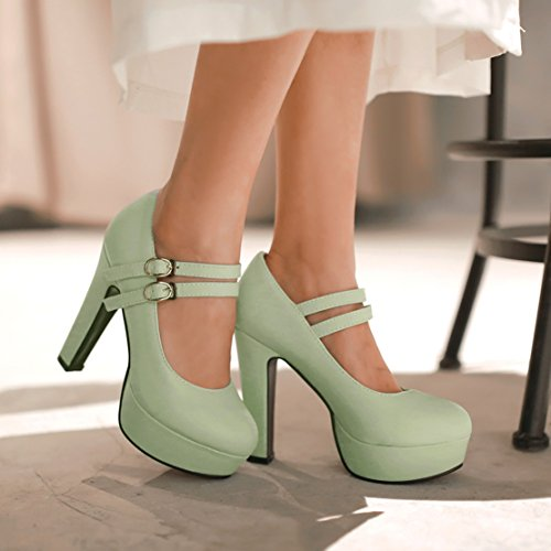 AIYOUMEI Mary Jane Pumps mit Plateau Blockabsatz High Heels Abendschuhe Damen grün(Synthetik)
