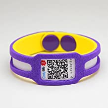 Pulsera identificativa Codylife KIDS. Brazalete de goma eva dotado con código QR y espacios en blanco para escribir datos con rotulador permanente. (Morado/Amarillo, PEQUEÑA (Contorno 15-16 cm))