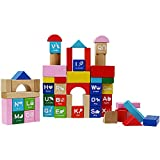 Wooden ABC Building Stacking Blocks Kids DIY Construction Toys Alphabet Letters Preschool Educational Learning Toys for Boys Girls 18M+ Years Old