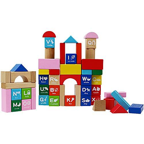 Bloques Construccion Bebe Madera Alfabeto DIY 60pcs Bloques Logicos con Caja Preescolar Juguetes Educativos para Niños Niñas 18M +