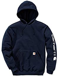 Carhartt Signature–Sweat-shirt à capuche pour homme, avec logo Carhartt, L, bleu foncé