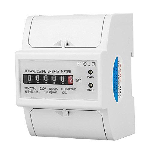 220 V DIN-Schiene Stromzähler, Digital 1 Phase Stromzähler 2 Draht 4 P, XTM75S-U Stromzähler KWh Meter(5(30) A) -