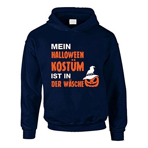 Kinder Hoodie - Mein Halloween Kostüm ist in der Wäsche - von Shirt Department, 152-158, dunkelblau-Weiss