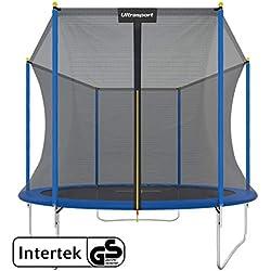 Ultrasport Trampoline de jardin Uni-Jump, trampoline pour enfant, set complet avec tapis de saut, filet de sécurité, barres du filet rembourrées et revêtement pour les bords, Bleu, 305 cm