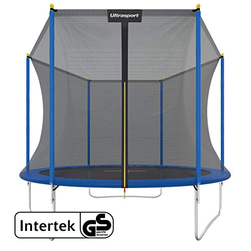 Ultrasport Outdoor Trampoline Uni-Jump, Kids Trampoline, Gardentrampoline Complete Set Including Jumping Sheet, Safety Net, Padded Net Posts and Edge Cover, Blue, 305 cm