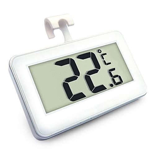 Ogquaton Kühlschrankthermometer, Mini-LCD-Digital-Thermometer für wasserdichte Kühl- und Gefrierschränke, tragbarer Frostalarm-Temperaturmonitor Weiß Langlebig und praktisch (Mini Kühl-und Gefrierschrank)