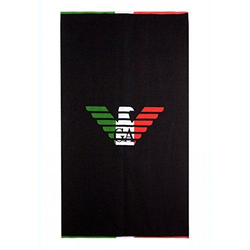 Emporio armani - telo mare italia, 100% cotone, black, tu