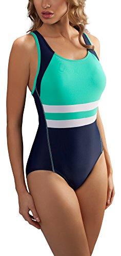 aQuarilla Damen Schwimmanzug AQ70 (Navy/Minze, 42)