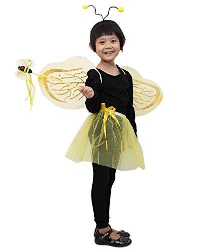 Ja04 4 teiliges Bienen Kostüm bestehend aus den Flügeln, dem Rock, dem Kopfschmuck und dem Stab! Für die Größen 98-110