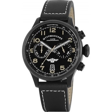 STURMANSKIE MENS STW1251G7 STAINLESS STEEL CHRONOGRAPH BLACK LEATHER STRAP WATCH 100M WR
