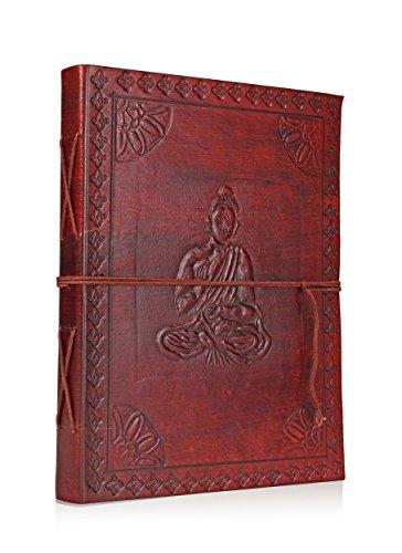 Mano classico impress Pelle Diario rivista con Santo Buddha progettazione e carte fatte a mano