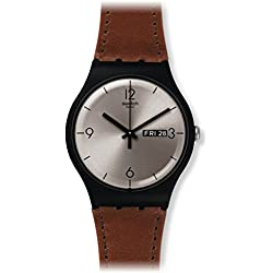 Swatch Unisex Brown Leather Band Plastic Case Swiss Quartz Silver-Tone Dial Analog Watch SUOB721