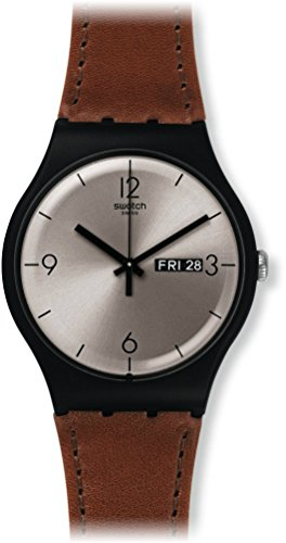 swatch-unisex-brown-leather-band-plastic-case-swiss-quartz-silver-tone-dial-analog-watch-suob721