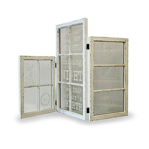 Loberon Paravent Kanye, Kiefernholz/Glaseinsätze, H/B/T ca. 72/106 / 2,4 cm, antikweiß