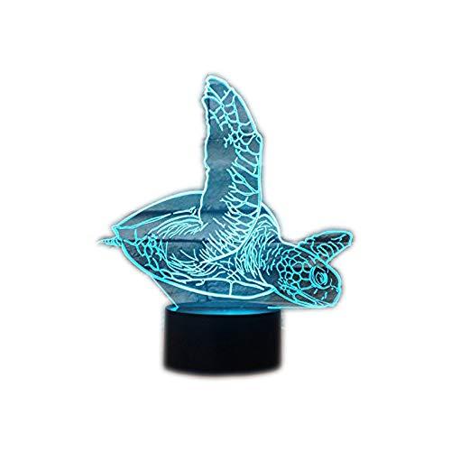 (Schildkröte Touch 3D LED-Nachtlicht 7 Farben Schreibtisch Optische Illusions-Lampen mit 150cm USB-Kabel zum Kinder Weihnachtsgeschenk Haus Dekoration)
