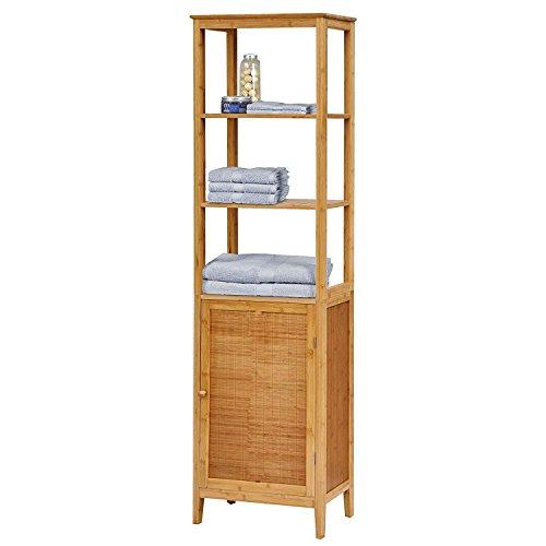 Hochschrank Badezimmermöbel Badezimmer-Schrank Bambus Badschrank ... | {Badschrank bambus 94}