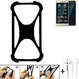 K-S-Trade Handyhülle für Allview P7 Pro Schutzhülle Bumper Silikon Schutz Hülle Cover Case Silikoncase Silikonbumper TPU Softcase Smartphone, schwarz (1x), Headphones
