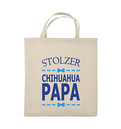 Comedy Bags - Stolzer Chihuahua Papa - Jutebeutel - kurze Henkel - 38x42cm - Farbe: Schwarz / Weiss-Neongrün Natural / Royalblau-Hellblau