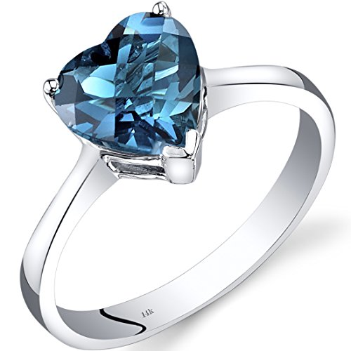 Revoni 14ct White Gold London Blue Topaz Heart Solitaire Ring 2.00 Carat