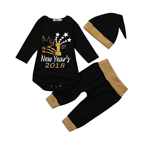 Babykleidung Babymode Longra Strampler für neugeborene Babyanzug Jungen Mädchen Langarm Brief Bodys und Baby Hosen mit Hut 3 Stücke 2018 Neujahr festliche neugeborene kleidung (Black, 80CM 6Monate)