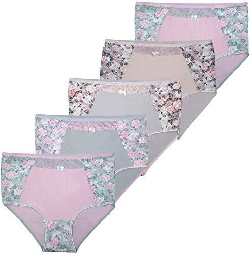 PiriModa 5 Damen Taillen Slips mit Spitze Unterwäsche (48/50, Modell 1)