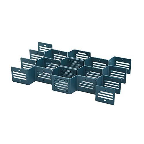 Aploa Justierbare Fach-Schindel-Fach-Teiler-Kasten-Gitter-Speicher-Organisator-Socken Stoffbox für Schrank oder Schublade - ideale Aufbewahrungsbox für Wäsche, Gürtel, Accessoires etc (Blau) -