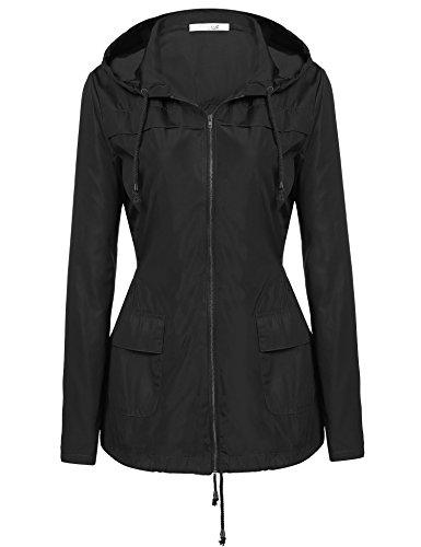 Meaneor Damen Kapuzen-Leichtgewicht Wasserdichte Regenbekleidung outdoor langarm Schlank RegenMantel lange Regenjacke