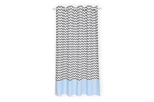 KraftKids Gardine weiße Punkte auf Hellblau Chevron grau aus 100% Baumwolle, stilvolle Vorhänge mit Ösen, Gardinen 230 cm lang für das Kinderzimmer (Chevron Und Weiß Grau)