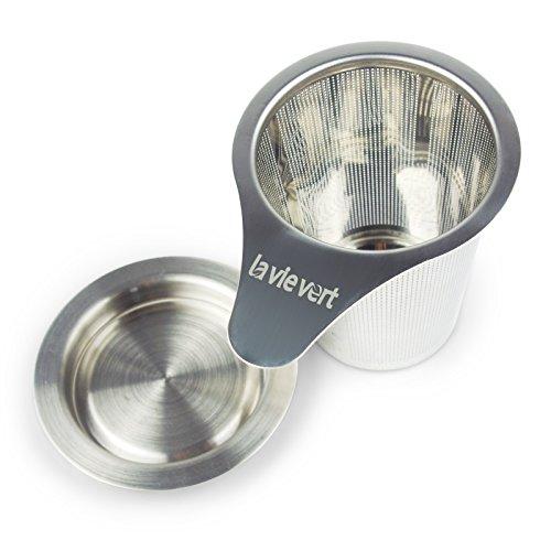 Lavievert Edelstahl Teesieb / Teefilter / Teesteiler mit Deckel /Abtropfschale für Tee- und Kaffeekanne Töpfe Gläser Tassen