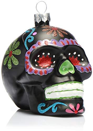 Com-four® decorazioni per alberi di natale crani - pendenti di natale per l'albero di natale - decorazioni per alberi di natale in vetro - dia de los muertos (01 pezzi - nero/rossi occhi)