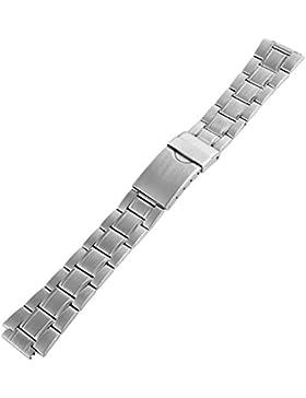 Edelstahl Gliederband Uhrenarmband Uhrenband Uhrband Ersatzband Armband silberfarbig mit glatter Prägung RP8122514055...