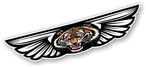 Vintage Traditionelle geflügelten Emblem Design mit brüllendem Bengal Tiger Motiv für Motorrad Biker Helm Auto-Aufkleber Vinyl Aufkleber 130x 30mm (Tiger-emblem)