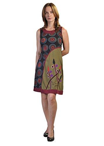 Ärmelloses Kleid Frauen Sommer mit einem Blumenmuster und bunten Stickereien Kreis (Kreis Ärmelloses)