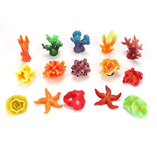 Pssopp 15 Stücke Künstliche Korallen Pflanze Lebendige Dekorative Aquarium Riff Ornament Mehrere Stile Gefälschte Koralle für Aquarium Decor