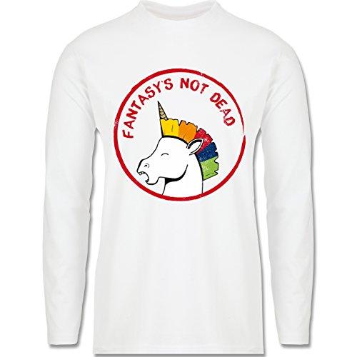 Comic Shirts - Fantasy's not dead Punk Einhorn - Longsleeve / langärmeliges T-Shirt für Herren Weiß