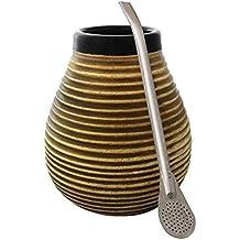 Cebador Set de Mate y Bombilla de cerámica, de Forma Natural con ...