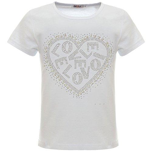 BEZLIT Mädchen Kinder Glitzer T-Shirt Oberteil Herz Kunst-Perlen 22540 Weiß 140