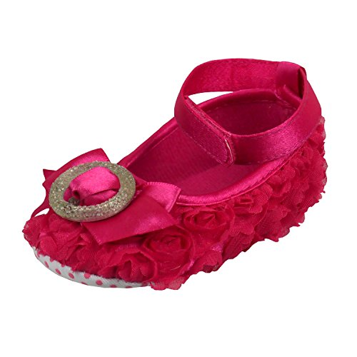 Vintage Rosebud & Buckle Baby Shoes - Pink, Cerise or White Pink