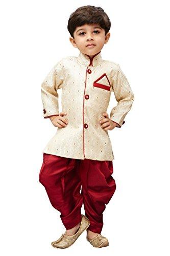 JBN Creation Boys Cotton Silk Dhoti & Kurta Set (Color: Beige &...