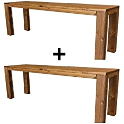 2X Banc banquette de jardin en bois exterieur interieur balcon terrasse parc 150x38.5x50H également disponible sur mesure!