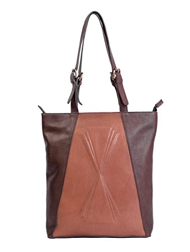Paint Genuine Leather Chocolate Brown Criss-cross Tote Bag