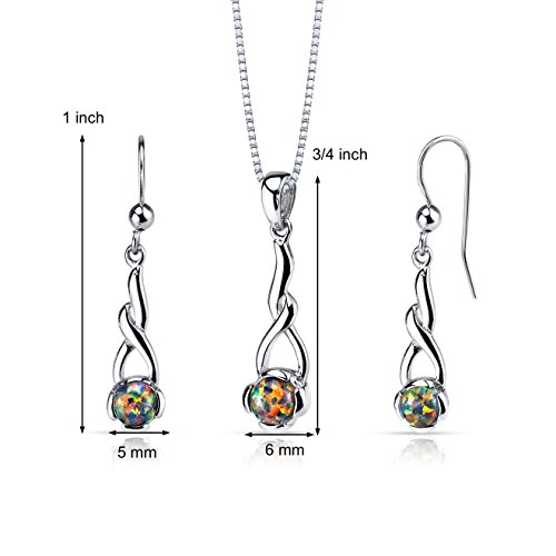 Created Opal Helix Pendant Earrings Necklace Sterling Silver 2.00 Carats
