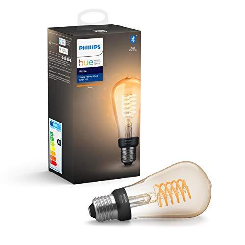 Philips Hue White bombilla LED inteligente E27, filamento ST64, luz blanca cálida, compatible con Bluetooth y Zigbee (Puente Hue opcional), funciona con Alexa y Google Home