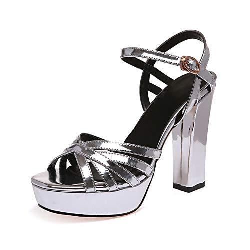 Summer Newest gladiatorHigh Heels Sandals Women Fashion peep Toe Platform Dress Party Shoes Big Size 33-42 Silver Black Silver 4