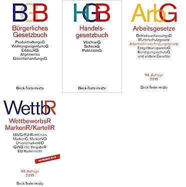 Bürgerliches Recht, Handelsrecht, Arbeitsrecht und Wettbewerbsrecht Gesetzestexte im Set als Prüfungsset (BGB+HGB+ArbG+WettbR neue Versionen)