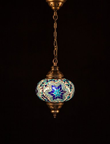 Handmade Turkish Lamp Moroccan Ottoman Style Mosaic Oval Mosaic Hanging Lamp Single Chain Lights Home Bedroom Restaurant Cafe Decoration Light Size 3 Blue Star