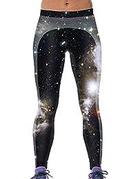 Lovelife' Women Dark Gray Galaxy Digital Printed Yoga Workout Capri Leggings