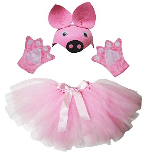 Petitebelle Pig Hat Handschuhe Rock Girl Kinder 3pc Kostüm Zubehör Einheitsgröße ()